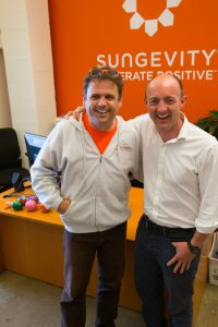 Danny Kennedy & Sungevity CEO Andrew Birch at the opening of the company's Jack London Square offices in 2010